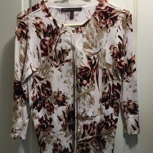 White House Black Market Floral Cardigan XS